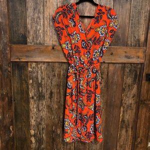 Lands End, 8, Orange Floral Empire Dress